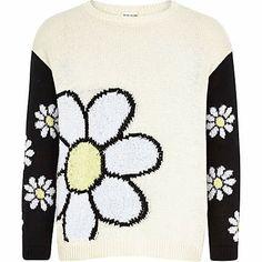 Girls cream daisy colour block jumper £14.00