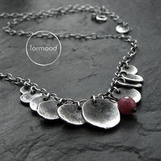 Necklace  oxydized silver and ruby by studioformood on Etsy