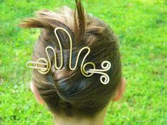 Brass Hair Slide, Gold, Hair Stick, Hair Pins, Barrettes, Hair Accessories, Fire Hair Clip, Brass, Women, Hair, Accessories, Clips, on Etsy, $25.00