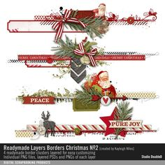 Readymade Layers: Christmas Borders No. 02 border strip clusters in layers for customizing Scrapbook Background, Scrapbook Borders, Scrapbook Embellishments, Christmas Border, Christmas Banners, Christmas Art, Christmas Scrapbook Layouts, Scrapbooking Layouts, Digital Scrapbooking