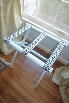 DIY Luggage Rack - Guest Room - Great idea for guest room, might have Jon adjust for bigger suitcase.