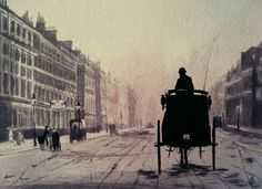 Inspired by Alvin Langdon Coburn, Portland Place, London, First experiment on India ink wash tint. London cab into the fog Ink Wash, India Ink, Novels, Darth Vader, Victorian, Deviantart, London, London England, Fiction