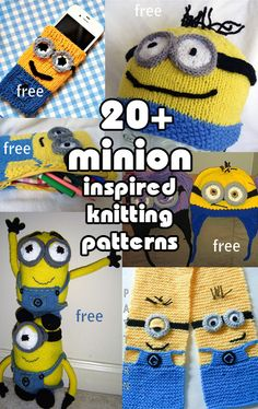 Minions inspired Knitting Patterns, many free minion patterns for hats, toys, phone covers, mittens Knitting For Kids, Loom Knitting, Knitting Stitches, Knitting Patterns Free, Free Knitting, Knitting Projects, Baby Knitting, Crochet Projects, Crochet Patterns
