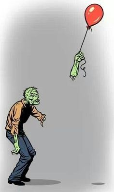 The struggle is real for zombies. Zombie lost his hand while holding the balloon. Arte Zombie, Zombie Art, Zombie Life, Funny Zombie, Theme Halloween, Halloween Humor, Halloween Makeup, Halloween Pics, Graffiti Tattoo