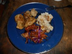 Costa Rica dinners: dumpling filled with cabbage, carrot, soy and ginger with potato pierogis