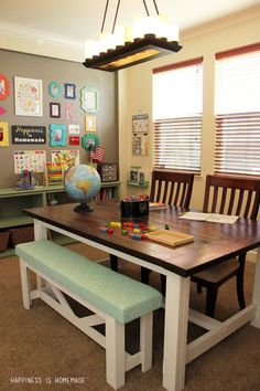 #Homeschool #Room with DIY farmhouse table too. Pretty ideas to turn a room in your home into a learning station. :)