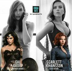 Pick a side: Gal Gadot as Wonder Woman or Scarlett Johansson as Black Widow. Marvel Dc, Marvel Girls, Comics Girls, Marvel Heroes, Celebridades Fashion, Black Widow Scarlett, Gal Gadot Wonder Woman, Black Widow Marvel, Celebs