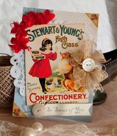 Darling vintage advertisement, shabby chic greeting card with great dimensional elements.