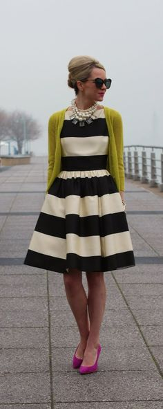 striped dress, statement necklace, cardigan