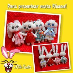 Coelhas charmosas para presentear na Páscoa  Encomendas por: E-mail: e_artesanato@hotmail.com Whatsapp: (11) 9 8810-5602 Loja: littasantos.elo7.com.br Blog: littasantos.blogspot.com.br Facebook: facebook.com/e.artesanato.by.litta.santos
