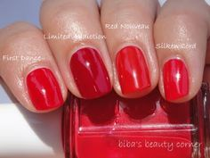 Essie: First Dance, Limited Addiction, Red Nouveau, Silken Cord
