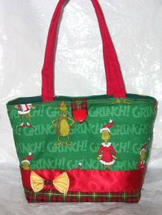 47fbd84a77 New Christmas Tote Bag~Purse~Handbag~With The Grinch Who Stole Christmas  Fabric
