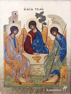 Icon of Holy Trinity is made using semiprecious stones and gold leaf. An opening icon case is included in the price of icon Religious Icons, Religious Art, Paint Icon, Saint Nicolas, Russian Icons, Byzantine Icons, Guardian Angels, Orthodox Icons, Sacred Art