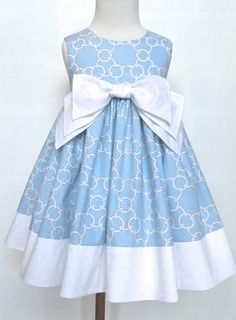 """Girls Easter Dress Toddler Easter Dress """"Molly"""" Light Blue and White Sizes 2T - 6 Only by 8th Day Studio"""