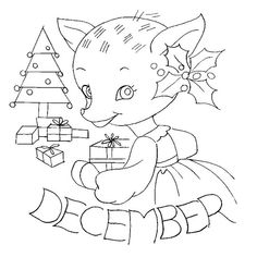 Christmas deer embroidery pattern.