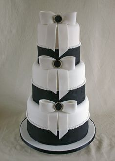 Wedding Cake - Double Height & Sugar Bows by Scrumptious Cakes (Paula-Jane), via Flickr