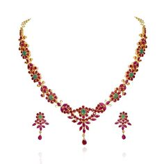 Traditional South Indian Ruby & Emerald Necklace Set - Fire and Earth - Collections - Type - Products Emerald Necklace, Gemstone Necklace, Necklace Set, Beaded Necklace, Gold Necklace, Ruby Jewelry, Sapphire Jewelry, Gold Jewelry, Jewelry Necklaces