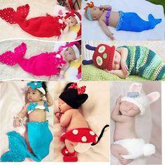 Baby Girls Boy Newborn-9M Knit Crochet Mermaid Minnie Clothes Photo Prop Outfits