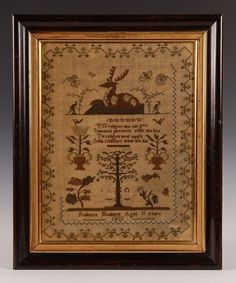REBECCA MAIDMENT 1833 SAMPLER WITH ADAM AND EVE : Lot 167