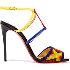 Christian Louboutin Tipika 100 beaded patent-leather sandals ($1,495) ❤ liked on Polyvore featuring shoes, sandals, blue, christian louboutin, blue patent leather shoes, blue patent leather sandals, caged shoes and beaded sandals