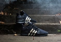 The latest collaboration between UNDEFEATED and adidas Consortium sees them rework the classic EQT Support ADV silhouette. Best Sneakers, Sneakers Fashion, All Black Sneakers, Nike Fashion, Men's Fashion, Adidas Runners, Adidas Three Stripes, Shoes Photo, Only Shoes