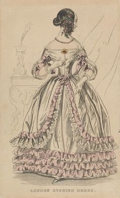 London Evening Dress  1830-1840  Artist/s name UNKNOWN   Medium hand-coloured etching Measurements Accession Number 2464.8-3 Credit Line National Gallery of Victoria, Melbourne