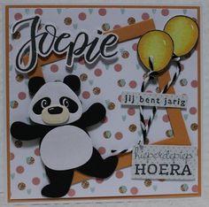 Gemaakt door Joke # Kinderkaart met Pandabeer, voor Evi Kids Cards, Baby Cards, Marianne Design, Love Cards, Panda Bear, Paper Piecing, Craft Stores, Birthday Cards, Christmas Cards