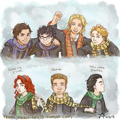 Fanart: The MCU Avengers at Hogwarts. Tony Stark and Bruce Banner as Ravenclaws, Thor as a Gryffindor, Steve Rogers and Clint Barton as Hufflepuffs [Even though I think Steve is more Gryffindor than anyone], and Natasha Romanoff and Loki as Slytherins.