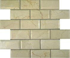 2x4+Crema+Marfil+Marble+Brick+High+Beveled+Pattern+Polished+Mosaic+Tile+-+2x4+Crema+Marfil+Marble+Brick+High+Beveled+Pattern+Polished+Mosaic+Tile+is+a+great+way+to+enhance+your+decor.+This+Polished+Mosaic+Tile+is+constructed+from+durable,+impervious,+translucent,+Marblematerial,+comes+in+a+smooth,+high-sheen+finish+and+is+suitable+for+installation+as+bathroom+backsplash,+kitchen+backsplash+in+commercial+and+residential+spaces.+This+beautiful+Marbletile+features+a+random+variation+in+