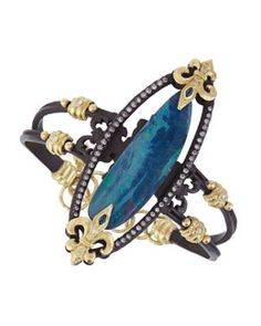 Y2FTT Armenta Double-Banded Open-Oval Bracelet with Diamonds, Sapphires & Boulder Opal Doublet