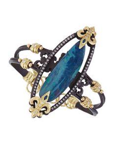 Y2FTT Armenta Double-Banded Open-Oval Bracelet with Diamonds, Sapphires & Boulder Opal Doublet