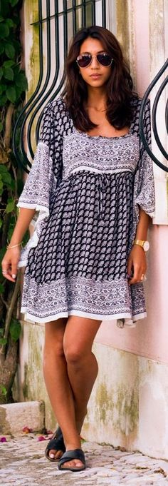Free People Black And White Relaxed Fit Mix Print Mini Dress