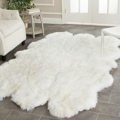 d7c375c6b2b Allison Handwoven Sheepskin White Area Rug. White Fluffy ...