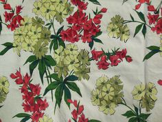 Measures 106 x 48 Wide. Pretty Floral Fabric called Pomona, A Waverly Bonded Fabric. Thick ~ like Bark Cloth