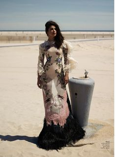 Priyanka Chopra catches the breeze in Gucci embroidered dress with feather detail
