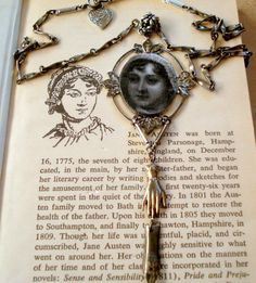 Jane Austen Pendant Necklace,Vintage Chain,Hand Stamping,Pen Nib by joyceshafer on Etsy