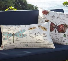 Embroidered Garden Critters Indoor/Outdoor Pillow | Pottery Barn