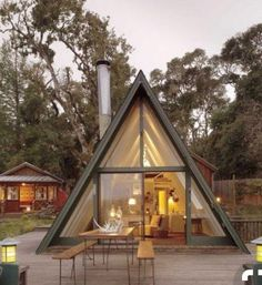 A Frame House Plans, A Frame Cabin, Tiny House Plans, Tiny House Cabin, Cabin Homes, Tiny Homes, Triangle House, Weekend House, Forest House