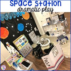 How to make your center into a space station and add math, literacy, and STEM into their play. For preschool, pre-k, and kindergarten. Space Preschool, Preschool Centers, Space Activities, Preschool Activities, Dramatic Play Themes, Dramatic Play Area, Dramatic Play Centers, All About Me Crafts, All About Me Preschool