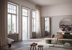 White, airy and scandinavian. Dreamy rendered apartment at Nybrogatan 19 by Oscar Properties. Founda at Husligheter.