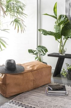 Hendrix & Harlow 'It Takes Two' Rectangle Leather Ottoman - Light Tan