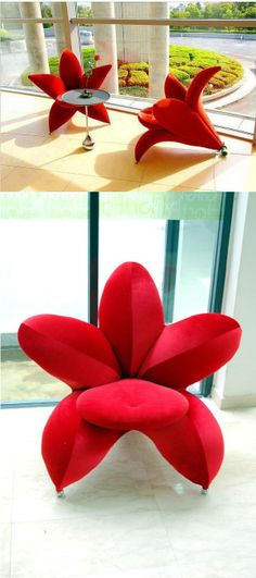 Adorable Red Flower Chair with an Ergonomic Design Home Decor Hooks, Home Decor Kitchen, Room Decor, Funky Furniture, Unique Furniture, Home Decor Furniture, Ocean Home Decor, House Plants Decor, Unique House Design