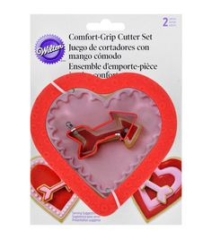 Wilton Comfort Grip Cookie Cutter Set 2pc-Arrow And Embossed Heart
