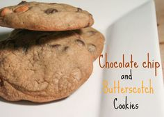 Soft, Chewy, Chocolate chip and butterscotch cookies. Butterscotch Cookies, Meals For One, Chocolate, Baking, Desserts, Food, Tailgate Desserts, Meal, Patisserie