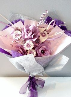 Large Paper Flower Bouquet in Gift Wrap  Beige by FAVCreations, $85.00
