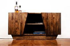 Living room media storage cherry wood furniture by Etic Design