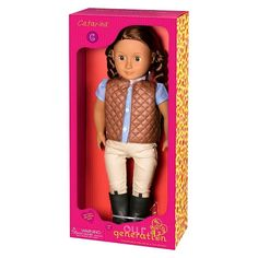 """• Sturdy plastic construction<br>• Sweet, natural appearance<br>• Rich braided hair<br><br>Kids will love playing with their 18"""" Our Generation Regular Doll - Catarina. She's ready for her day at the stables—complete with her outfit from black stable boots; cozy quilted brown vest; blue shirt with pink tie, to tan pants. Ages 3 and up."""