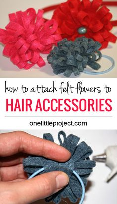 I love felt flowers! This shows how to attach them to elastics, barrettes, and hair bands. Save this for later!