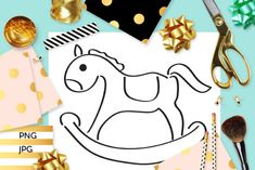 Rocking Horse Coloring (Graphic) by Revidevi · Creative Fabrica Horse Coloring Pages, Coloring Books, Digital Stamps, Gift Cards, Making Ideas, Craft Projects, How To Draw Hands, Card Making, Horses
