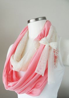 pink scarf trendy scarf infinity lace scarf by theflowerdesign, $29.00
